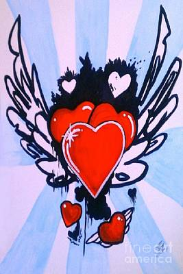 Art Print featuring the painting Hearts by Marisela Mungia