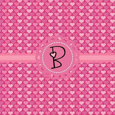 Valentines Day Digital Art - Hearts Memories Monogram B by Debra  Miller