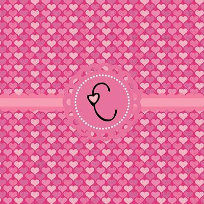 Valentines Day Digital Art - Hearts Memories Monogram C by Debra  Miller