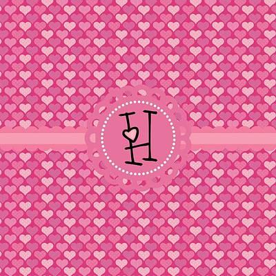 Valentines Day Digital Art - Hearts Memories Monogram H by Debra  Miller