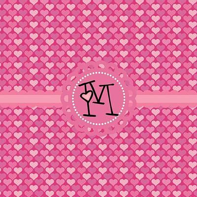 Valentines Day Digital Art - Hearts Memories Monogram M by Debra  Miller