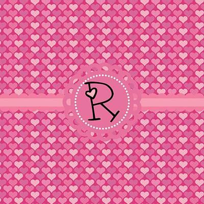 Valentines Day Digital Art - Hearts Memories Monogram R by Debra  Miller