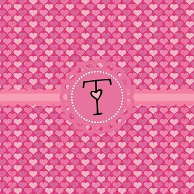 Valentines Day Digital Art - Hearts Memories Monogram T by Debra  Miller