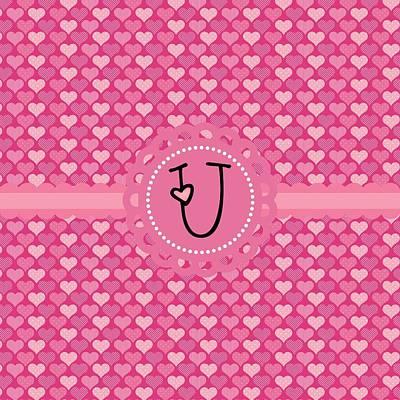 Valentines Day Digital Art - Hearts Memories Monogram U by Debra  Miller