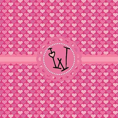 Valentines Day Digital Art - Hearts Memories Monogram W by Debra  Miller