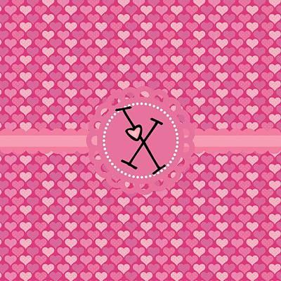 Valentines Day Digital Art - Hearts Memories Monogram X by Debra  Miller