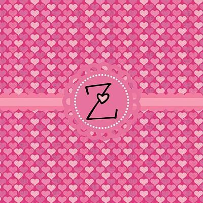Valentines Day Digital Art - Hearts Memories Monogram Z by Debra  Miller