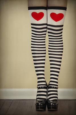 Hearts N Stripes Art Print by Evelina Kremsdorf