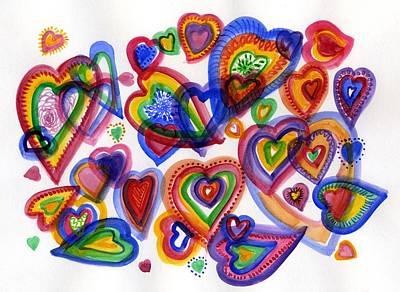 Hearts Of Colour Art Print