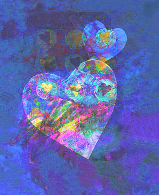 Digital Art - Hearts On Blue by Ann Powell