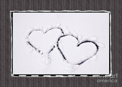 Photograph - Hearts On Snow With Wood Panel Background by Beverly Claire Kaiya