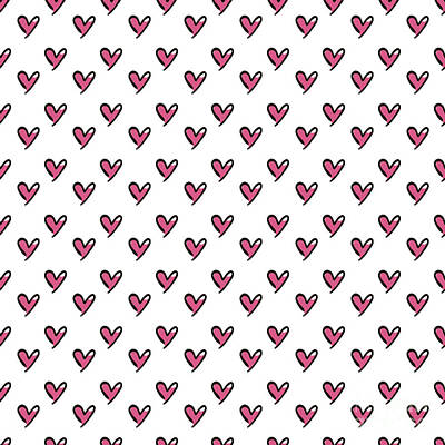 Digital Art - Hearts Seamless Pattern. Cute Doodle by Bubushonok