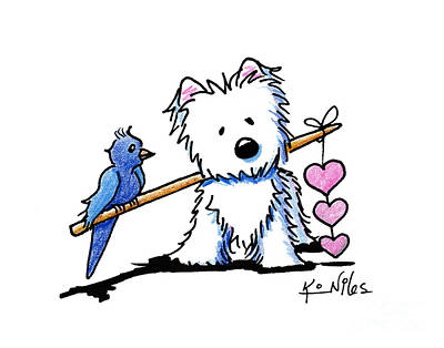 White Terrier Drawing - Heartstrings Westie by Kim Niles