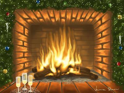 Fireplace Painting - Heat Christmas by Veronica Minozzi