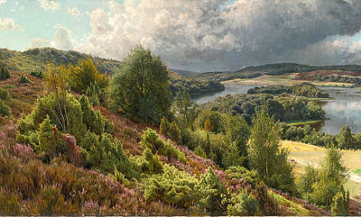 Heather Painting - Heather-covered Hills By The Lakes Near Silkeborg by Peder Mork Monsted