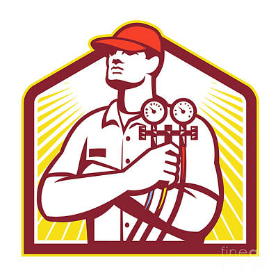 Workers Digital Art - Heating And Cooling Refrigeration Technician Retro by Aloysius Patrimonio