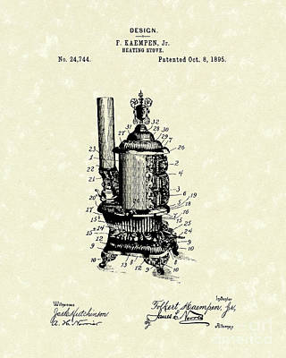 Drawing - Heating Stove 1895 Patent Art by Prior Art Design