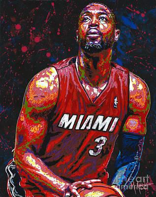 Dwyane Tyrone Wade Jr. Art Print by Maria Arango