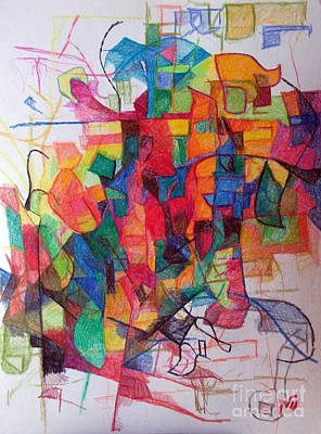Creativity Drawing - Heaven And Earth 1 by David Baruch Wolk