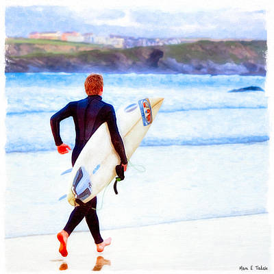 Surfers Photograph - Heaven Is On A Wave - Surfer At Newquay by Mark E Tisdale