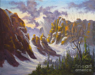 Yosemite Painting - Heavenly Light by Mohamed Hirji