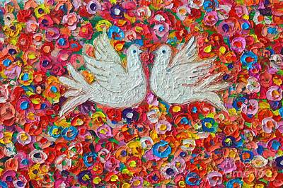 Fauna Painting - Heavenly Love - Gentle White Doves by Ana Maria Edulescu
