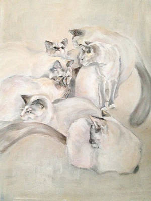 Felt Painting - Heavenly Puffs by Janet Felts