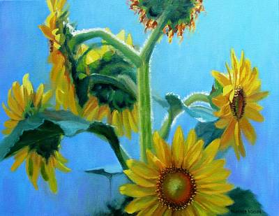 Contemplative Painting - Heavenly Sunlight-sunflowers In Sunlight by Bonnie Mason