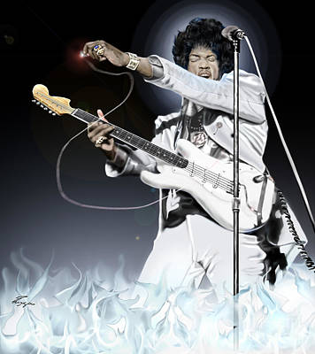 Super Stars Painting - Heavens Fire - The Jimi Hendrix Series  by Reggie Duffie