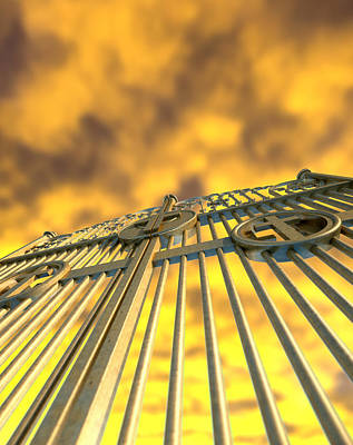Heavens Golden Gates And Yellow Sky Art Print