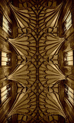 Heavenward -- Winchester Cathedral Ceiling In Sepia Art Print by Stephen Stookey