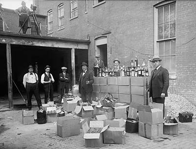 Beer Wall Art - Photograph - Heavily Armed Feds Seize Liquor Cache 1922 by Daniel Hagerman