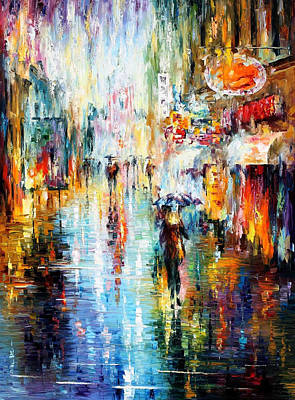 Heavy Downpour - Palette Knife Oil Painting On Canvas By Leonid Afremov Original by Leonid Afremov