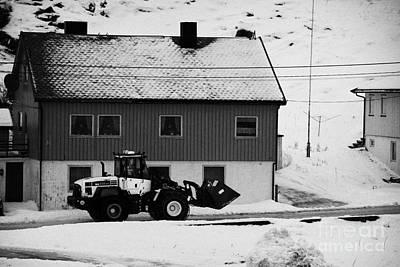 Heavy Duty Loader Carrying Grit And Stones For Winter Road Preparation Havoysund Finnmark Norway  Art Print by Joe Fox