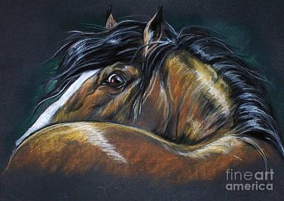 Heavy Horse Drawing Art Print by Angel  Tarantella