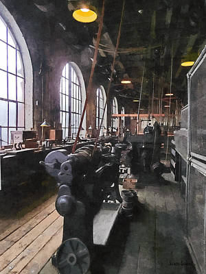 Heavy Machine Shop With Lamps Art Print