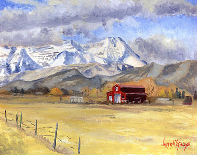 Painting - Heber Valley Farm by Jeff Brimley