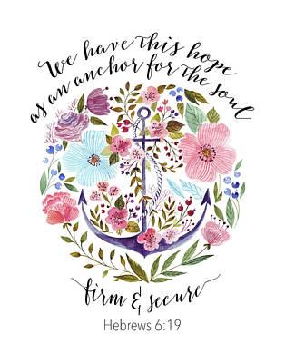 Hebrews 6-19 Floral Anchor Art Print