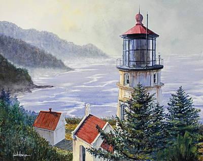 Oregon Lighthouse Painting - Heceta Head by Bill Hudson