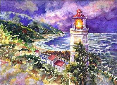 Painting - Heceta Head Lighthouse by Ann  Nicholson