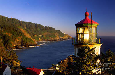 Whimsical Flowers - Heceta Head Moonrise by Inge Johnsson
