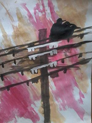 Powerlines Painting - Heckling Crows by Monii Nandy