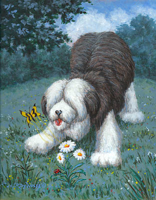 Dog Painting - Hector Hassels A Butterfly by Richard De Wolfe