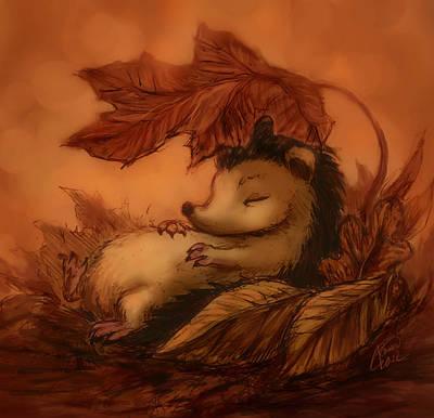 Hedgehog Under Leaves Print by Katerina Romanova