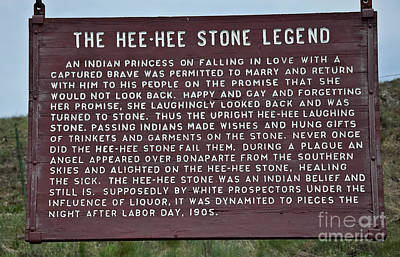 Photograph - Hee Hee Stone Legend Sign by Valerie Garner