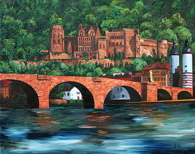 Knights Castle Painting - Heidelberg Castle by Cevin Cox