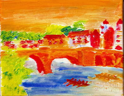 Painting - Heidelberg Old Bridge And Neckar River 1 by Richard W Linford