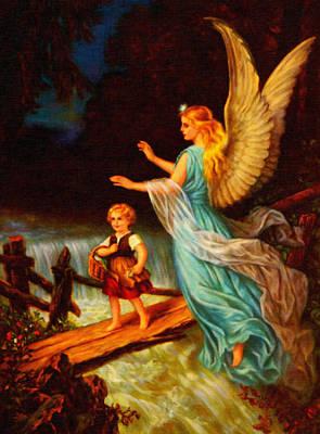 Guardian Angel Oil Painting - Heiliger Schutzengel  Guardian Angel 11 Oil by MotionAge Designs