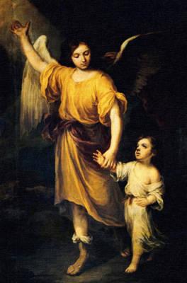 Guardian Angel Oil Painting - Heiliger Schutzengel  Guardian Angel 12 Oil by MotionAge Designs