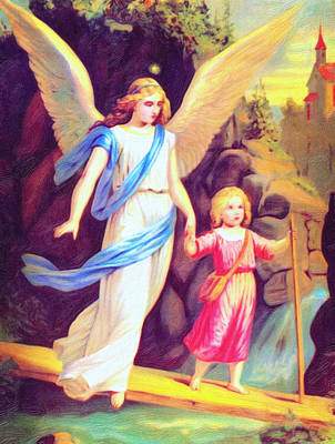 Education Painting - Heiliger Schutzengel  Guardian Angel 3 Enhanced by MotionAge Designs